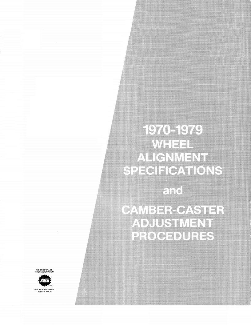 1970-1979 Wheel Alignment Specifications