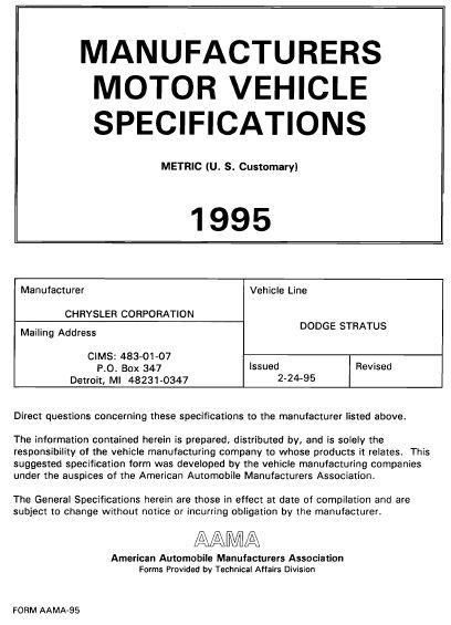 Taylor Automotive Tech Line 1995 Dodge Stratus Mvma